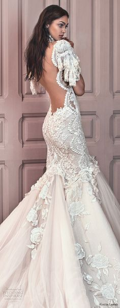 galia lahav spring 2018 bridal short sleeves illusion high sweetheart neck heavily embellished bodice tulle skirt ivory color mermaid wedding dress open low back royal train (ms genesis) zbv -- Galia Lahav Spring 2018 Wedding Dresses