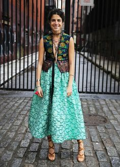 Love this shot of the fabulous Leandra Medine wearing our metallic bubble lamé skirt from our Spring 2015 collection. So chic!