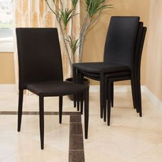 Comstock Fabric Stackable Dining Chair (Set of 4) by Christopher Knight Home (Black)