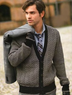 Items similar to Men's Jacket Sweater Hand Knit Cabled Pattern from Best Peruvian Wool Yarn Made to order on Etsy Preppy Sweater, Sweater Jacket, Men Sweater, Male Cardigan, Men's Jacket, Skinny Chinos, Sharp Dressed Man, Knitting Designs, Pulls