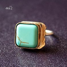 'Handmade Sterling Silver with Brass Handmade Piece and Turquoise Magnesite Square Bead Soldered Ring - Size 6.75' is going up for auction at  6pm Wed, Jun 6 with a starting bid of $35.