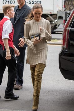 Chrissy Teigen: the model and cookbook author masters the art of autumnal dressing.