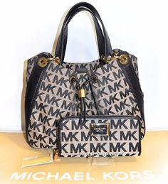 Michael Kors MK Ludlow Large Shoulder Bag & Wallet Set Biege/Black NWT #MichaelKors #handbags #wallets