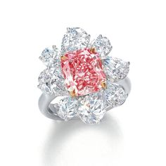 Exceptional 3.42 carat Fancy Vivid Pink Internally Flawless Diamond Ring by Ronald Abram