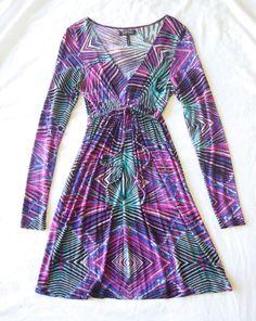 New! BUFFALO David Bitton Vibrant Multi Colored Kaleidascope Print Dress S 4 6