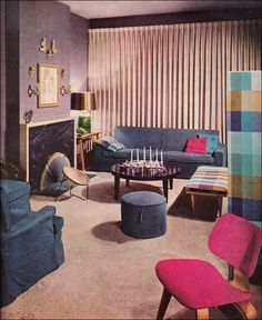 1957 Lavender Living Room. Published in Better Homes & Gardens, this room illustrated an article on using color for decoration and includes an Eames chair.