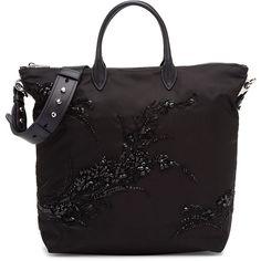 Prada Large Nylon Beaded Tote Bag ($1,880) ❤ liked on Polyvore featuring bags, handbags, tote bags, purses, black, handbags totes, zipper tote, zippered tote bag, prada handbags and purse tote