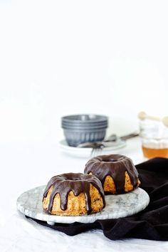 Spelt Coconut Honey Cake with Chocolate Ganache