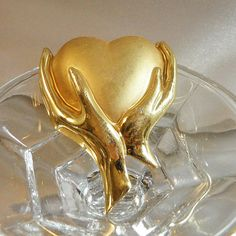 Vintage Heart in Hands Brooch. Brushed & Shiny Gold by waalaa