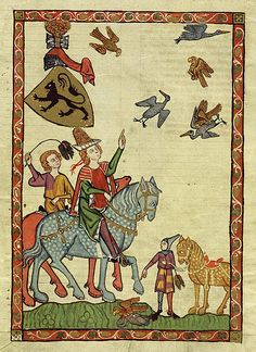 Medieval people engaging in falconry from horseback. Codex Manesse. Markgraf Heinrich von Meissen