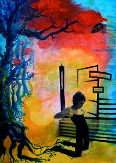 Forest girl art print illustration  painting woman by sampanink, $15.00
