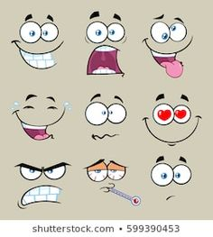 Similar Cartoon faces. Each on a separate layer. Images, stock photos and vectors - Cartoon Funny Face With Expression Set Raster Collection With Gray Background Cartoon Eyes, Cartoon Drawings, Cartoon Art, Cartoon Faces Expressions, Cartoon Expression, Cute Faces, Funny Faces, Art And Illustration, Clipart