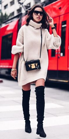 fall fashion trends knit + bag + over the knee boots