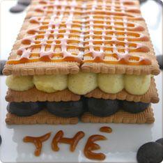 Mille-feuille vanille et chocolat, caramel au beurre salé, biscuits thé LU