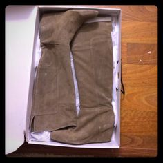 Nine West Knee high suede boots Never been worn ... Kaki/green/taupe shade cut on... But I impulse shopped this winter.. Lol Nine West Shoes
