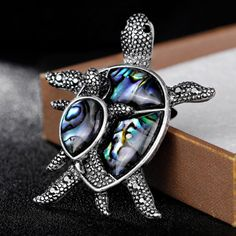 2018 New Arrival Cute two tortoise Brooch with Natural Abalone Shell Vintage Animal Brooches pins for Women Hats Accessory #Affiliate