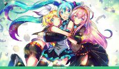 Vocaloids Rin, Miku, and Luka