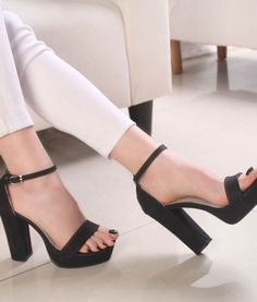 3f8963811828 Ankle Buckle Open Toes Thick Heels Sandals. High Heels SandalsShoes ...