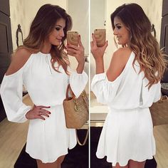 New Chiffon Off-Shoulder Strap Long Sleeve Casual Solid Color Dress Sexy Strapless Mini Party Dress Casual Loose Half Sleeve Strap Dress Long Shirt Xl Sexy Dresses, Casual Dresses, Short Dresses, Mini Dresses, Beach Dresses, Tight Dresses, Party Dresses, Casual Outfits, Summer Dresses