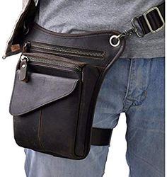 977ef96d3d9 2016 New Top Quality Genuine Real Leather men vintage Brown Small Sport  Outdoor Hiking Tactical Belt Bag Waist Pack Drop Leg Bag