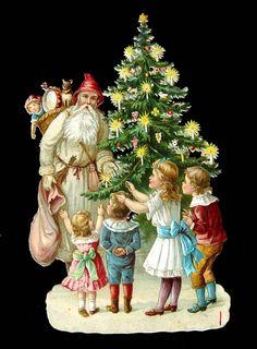 Alte Oblaten Glanzbilder,scraps: Weihnachten: Kinderszene mit Weihnachtsmann