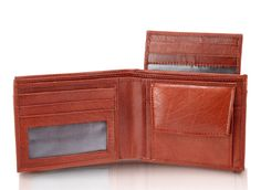 Men wallet;  3 card slot with a cardholder(as in pic) having 2 more card slot in total 5 card slots with a transparent photo ID,  1 snap closure coin pocket  2 notes section  2 currency slots