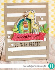 Card by Lisa Henke. Reverse Confetti stamp sets: Lift Me Up and Celebrations. Confetti Cuts: Lift Me Up, Big Stripes Cover Panel, Falling, Flowers for Mom, Detailed Circles and Leafy. Quick Card Panels: Party Time. Celebrations card. Birthday card. Encouragement card.