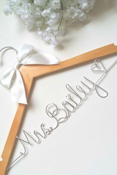 A lovely custom bridal hanger for the lovely bride! We will put your future last name, with a heart,on this hanger for you! *To make things easier for everyone,there is no additional charge for shippi (Diy Wedding Hanger) Fall Wedding, Diy Wedding, Wedding Gifts, Dream Wedding, Bride Gifts, Gifts For The Bride, Wedding 2017, Wedding White, Bridal Hangers