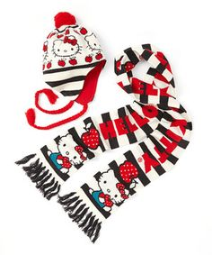 With this signature Hello Kitty beanie and scarf set, getting an apple a day is easy. A great item for colder weather, it is also a great gift for other kitty lovers.