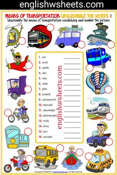 Means of Transportation Esl Printable Unscramble the Words Worksheets For Kids #means #transports #Transportation #Esl #Printable #Unscramble #words #Worksheets #language #arts #languagearts