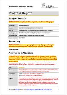 Progress Report Template | tools4dev