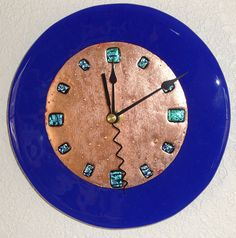 Fused Glass Copper Wall Clock - Blue Round on Etsy