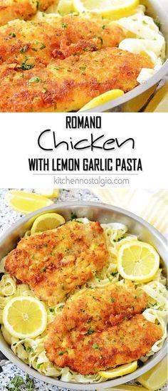 Romano Chicken with Lemon Garlic Pasta – crispy parmesan panko breaded chicken with pasta in fresh lemon garlic cream sauce! Tasty meal in 30 minutes time!