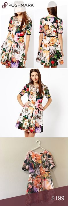 """Amazing Ted Baker Tropical Floral Print Dress Absolutely stunning and perfect dressed up or down! Excellent pre worn condition! Size """"3"""" which equals a US size 8 or medium. No trades!! Ted Baker Dresses"""