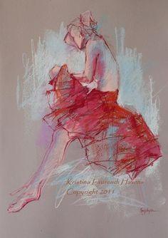 Female Model wearing a Red Skirt on Light Rose