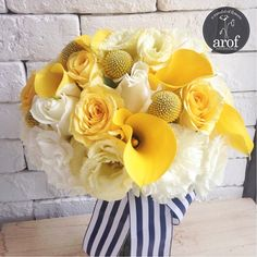 Yellow Navy Blue White Bridal Bouquet