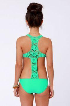 Mint green, lace, racer back one-piece swim suit! So pretty!
