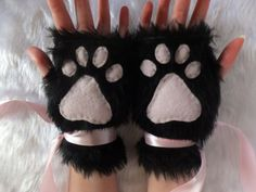 Cute Black & Pink or Colour Choice Furry Neko Kitty Cat Wolf Fox Dog Bear Faux Fur Fingerless Paw Gloves Wrist Warmers Halloween Christmas
