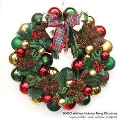 Weihnachtskranz Merry Christmas rot grün #Plaid #Tartan #Türkranz