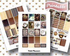Coffee Stickers // Cappuccino Stickers // Coffee Cup Stickers // Erin Condren Life Planner // Printable Stickers // Erin Condren Life Planner // Monthly set // Planner Stickers // Stickers By Petit Planner on Etsy