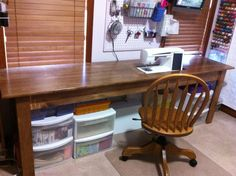 There's lots of room to center your chair in front of the needle with this particular DIY sewing table.