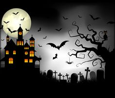 Halloween Moon and haunted house Background - Bing Images Halloween Canvas, Halloween Moon, Halloween Artwork, Halloween Quilts, Halloween Painting, Halloween Pictures, Halloween Wallpaper, Halloween Projects, Holidays Halloween