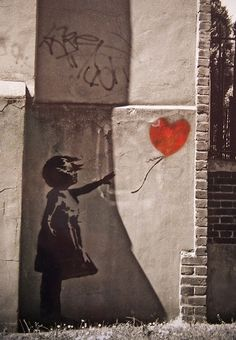 stencil art by banksy 'girl with a balloon'