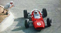 John Surtees won the 1966 Belgian GP in his Ferrari Footage from the race was used for the film Grand Prix. Ferrari Racing, Ferrari F1, F1 Racing, Classic Motors, Classic Cars, Classic Mini, Ferrari Scuderia, Belgian Grand Prix, Gilles Villeneuve