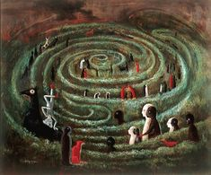 leonora-carrington the concept and composition is quit nice! like the horse and the guy on it nice