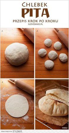 Pita bread - recipe step by step Good Food, Yummy Food, Salty Foods, Pita Bread, Polish Recipes, Arabic Food, Food Hacks, Food Inspiration, Food Porn