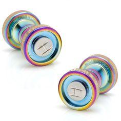 Round Scarab and Chrome Cufflinks