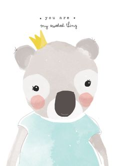 Koala via catita Illustrations . You are my sweetest thing. Cute Characters, Illustrations And Posters, Cute Illustration, Nursery Art, Cute Art, Illustrators, Character Design, Cute Animals, Art Prints