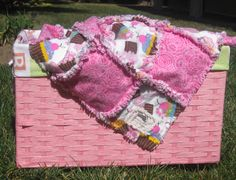 Just in time for Easter! Cupcakes and Pink Swirl Baby Rag Quilt by JJandCompany on Etsy
