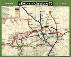 Old London underground map London Underground Tube Map, London Tube Map, London Map, Underground Lines, South London, London Pride, London Poster, London Travel, Transport Map